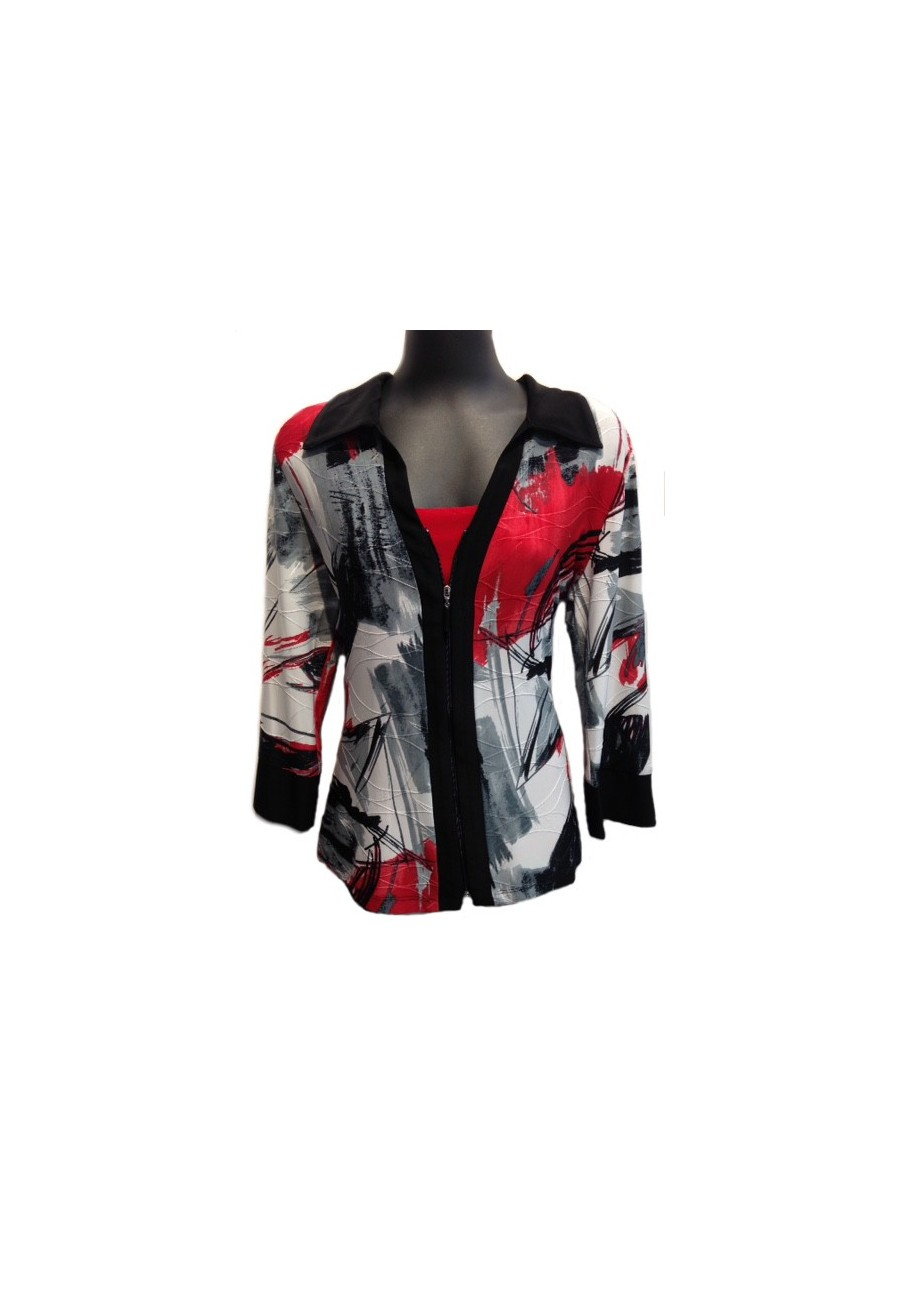 Touch of red jacket Mode Crystal Fashions - Boutique Isla Mona Canada