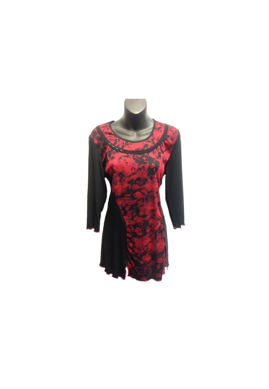 Tunic Vin Rouge Fashion With Red Roses Boutique Isla