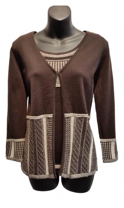 Ensemble camisole et veste couleur Brun et Beige Variations