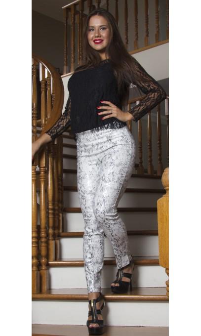 Pantalon legging effet ventre plat serpent Argent