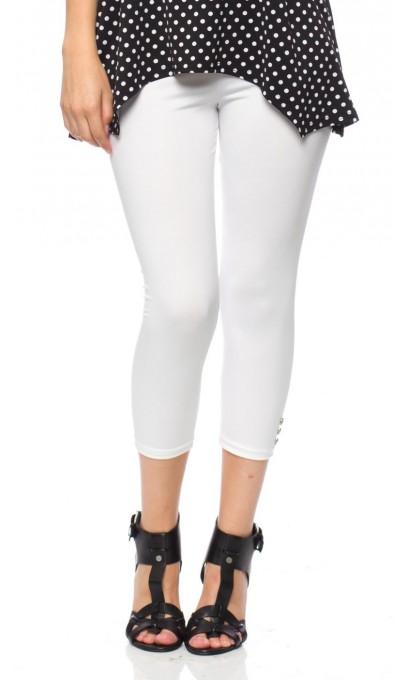 Capri leggings White color - Boutique Isla Mona Canada