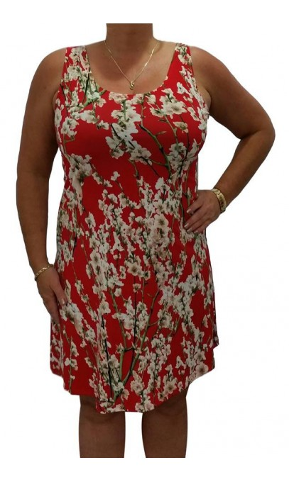 Robe rouge aux fleurs blanches collection Fitwell