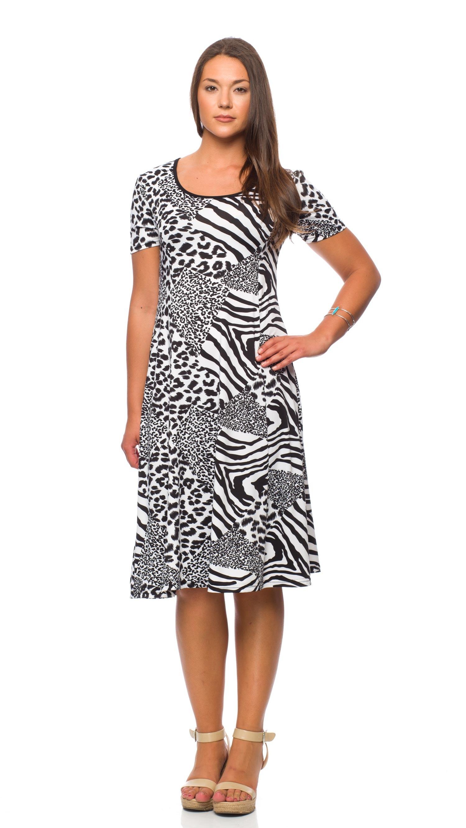 f477b1895e Dress fashion white and black textured - Boutique Isla Mona Canada
