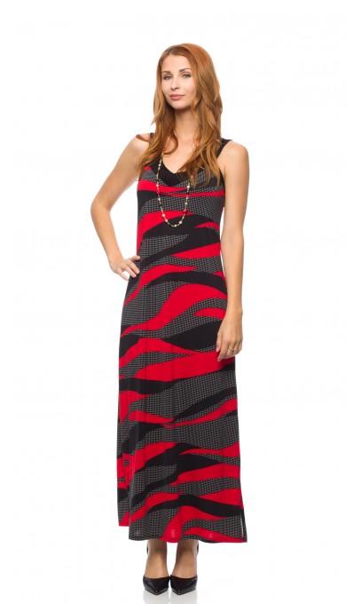 Robe longue rouge et noir funcky Mode Gitane