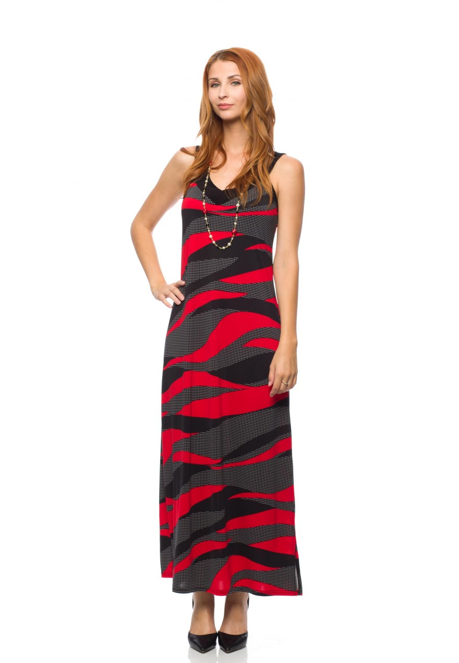 Long red and black funky dress Mode Gitane collection - Boutique ...