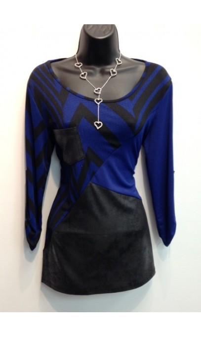 Chandail Crystal bleu avec zig-zag