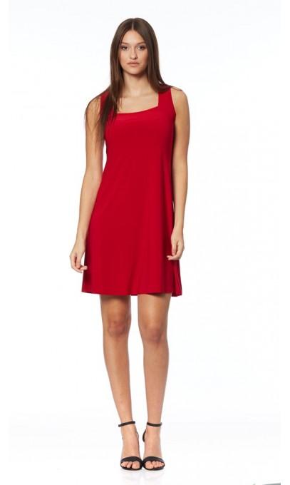 red sun dress with square neck mode gitane boutique isla mona canada. Black Bedroom Furniture Sets. Home Design Ideas