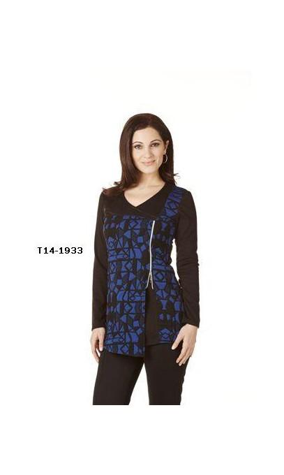 Tunique Collection Modes Crystal Fashions bleu & noir faux cuir sur épaule droite