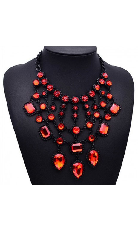 Collier Fashion Noir et Rouge