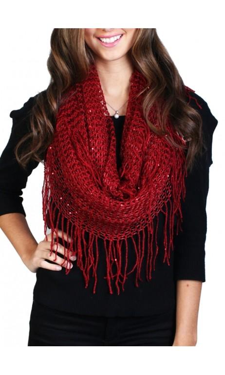 Foulard en tricot avec franges brillantes