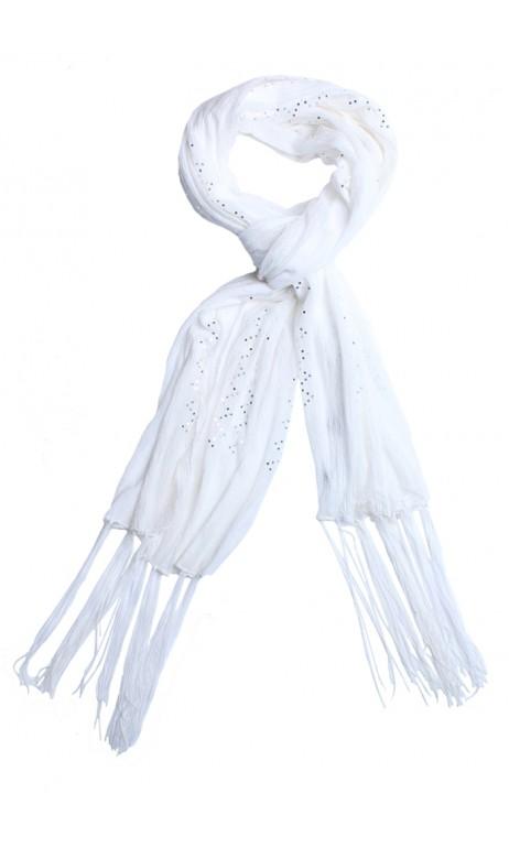 Légerte écharpe avec mini sequin Blanc