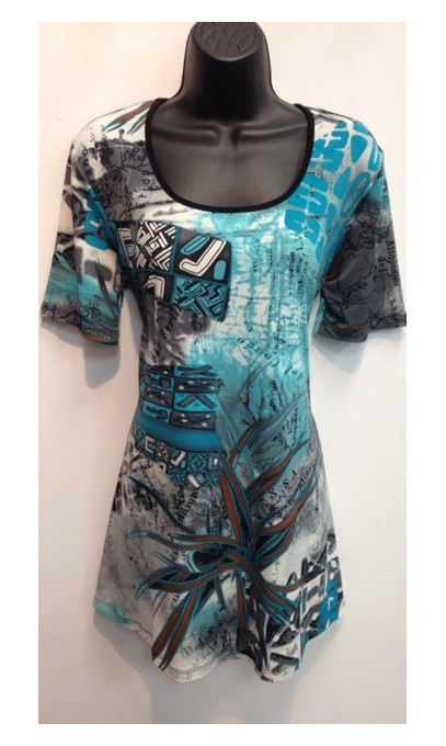 Tunique collection modes Gitane imprimé bleu turquoise
