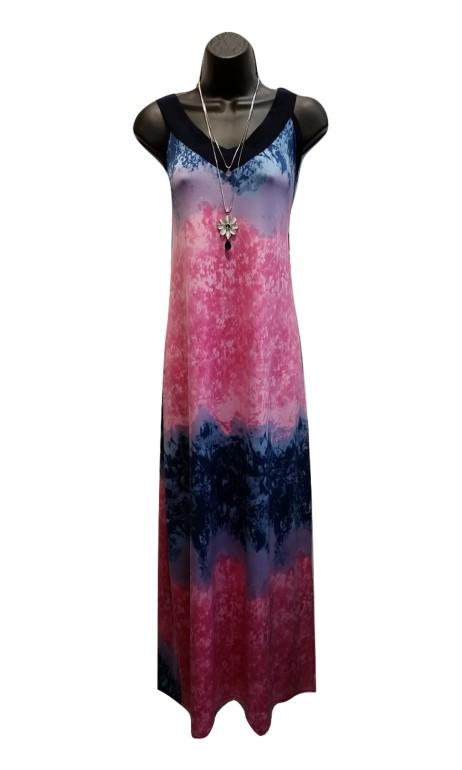 Robe de plage longue Rose et Bleu Gitane