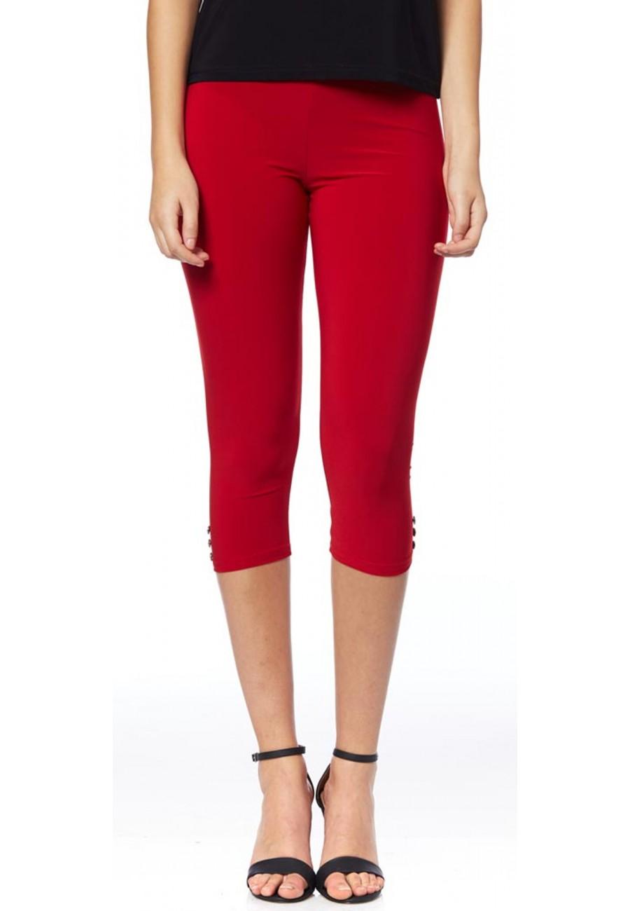 Red Capri Leggings With Button Boutique Isla Mona Canada