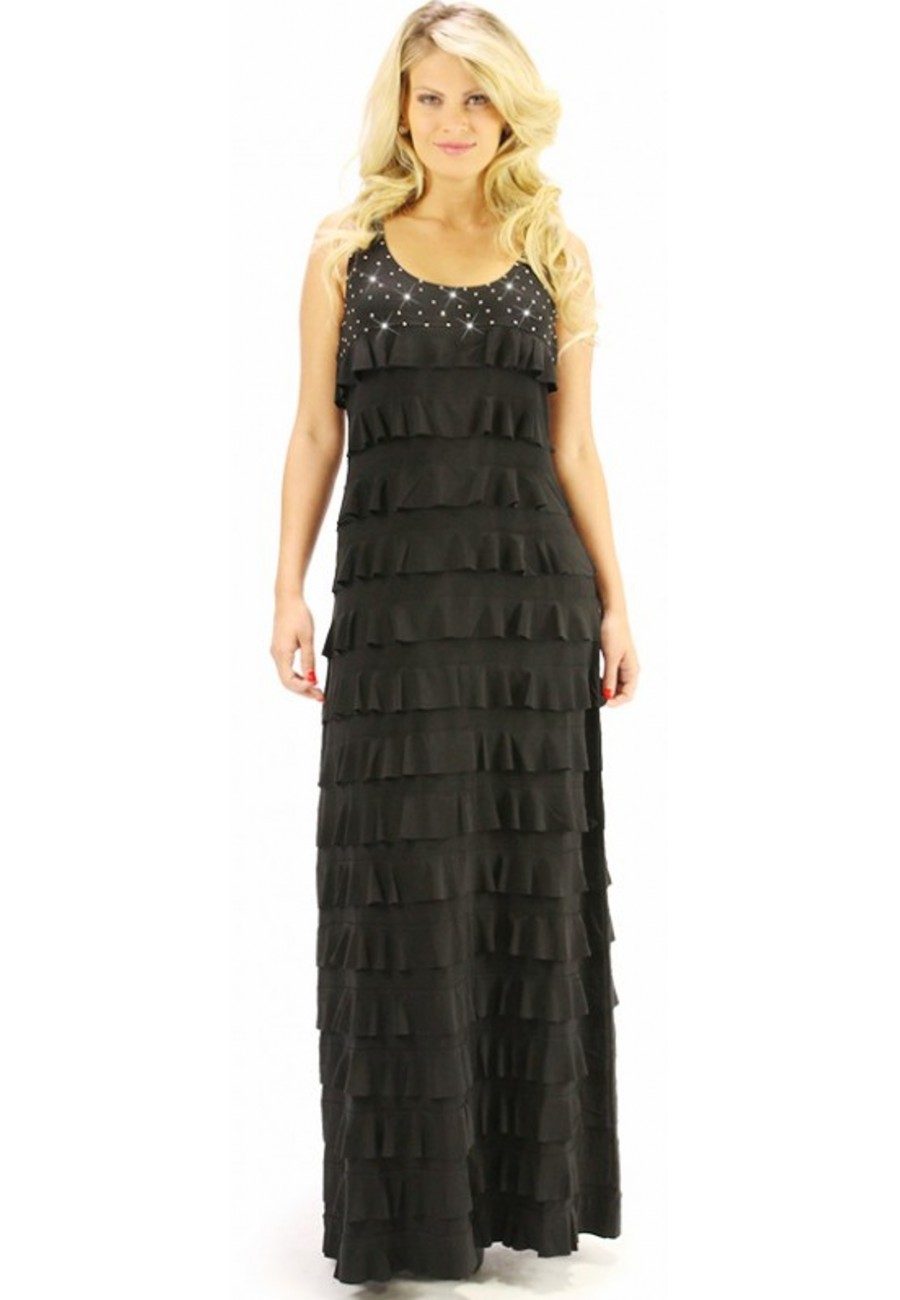 Dress black mango tango with real swarovski stones for Robe jean mango