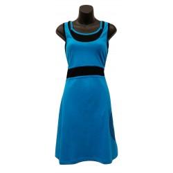Robe soleil coton Turquoise et Noir