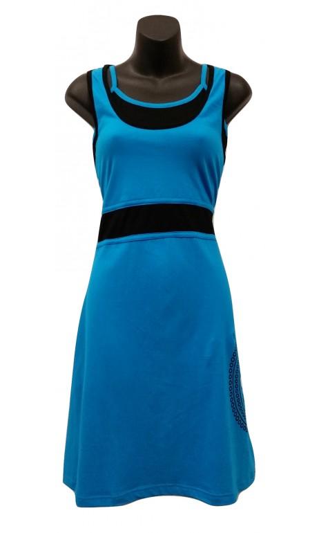 Robe soleil cotton Turquoise et Noir