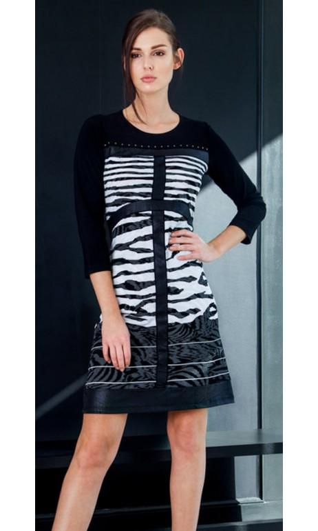 Robe Artex Fashions appliqué de cuir