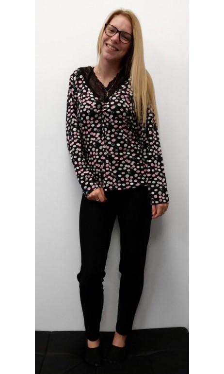 Ensemble Pyjama Noir et petits pois Rose