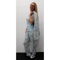 Ensemble 3 pièces pyjama cachemire Bleu