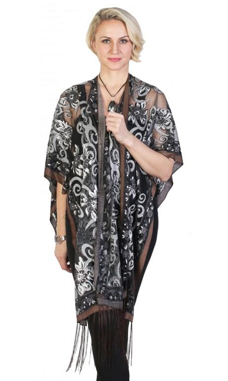 shawl avec accents de brun et boutons