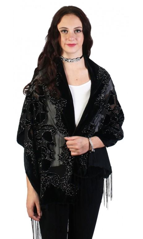 Foulard de velour noir avec paillette