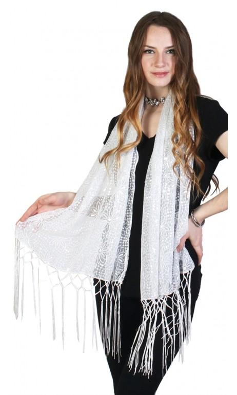 Foulard blanc avec paillettes argent