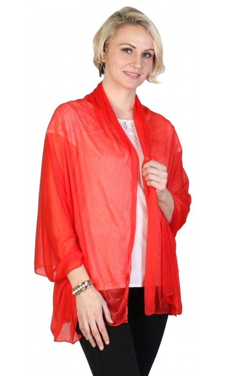 Foulard rouge vif avec mini paillettes doré