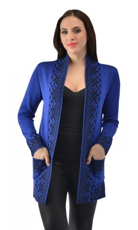 Cardigan lainage Bleu Royal