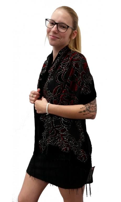 Foulard de velour noir et rouge vin avec paillettes