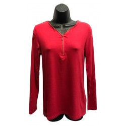 Haut uni rouge avec zip brillant collection N.A.T
