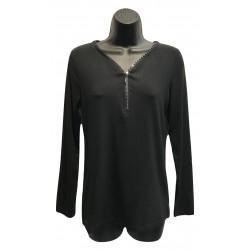 Haut uni noir avec zip brillant collection N.A.T