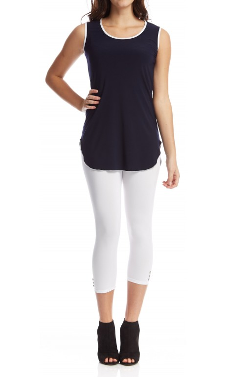 Tunique camisole Navy accent de blanc Mode Gitane