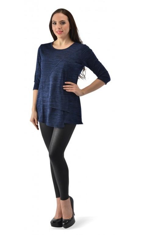 Tunique style lainage Bleu et Noir Creation