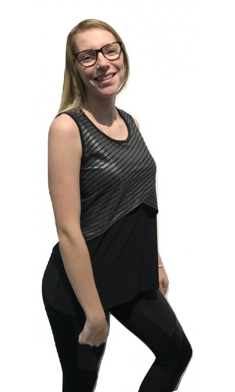 Camisole noir au voile argenté 24K Trends