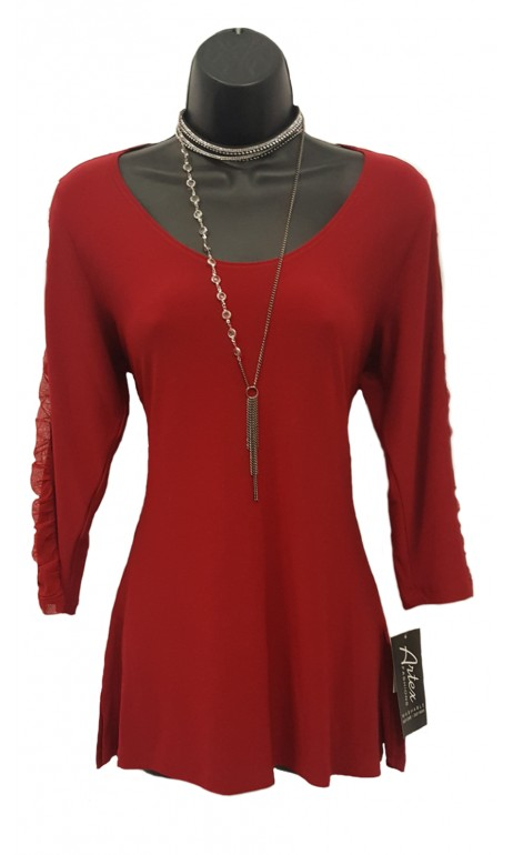 Red Top with Artex Fashions Net Sleeves