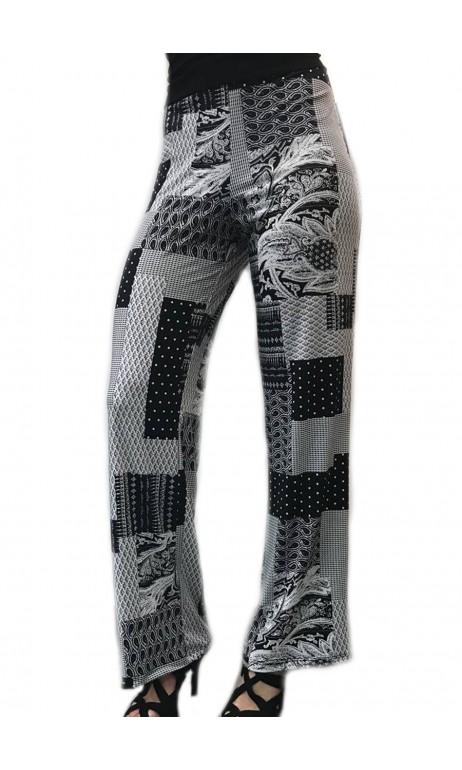 Pantalon long droit imprimé Noir et Blanc