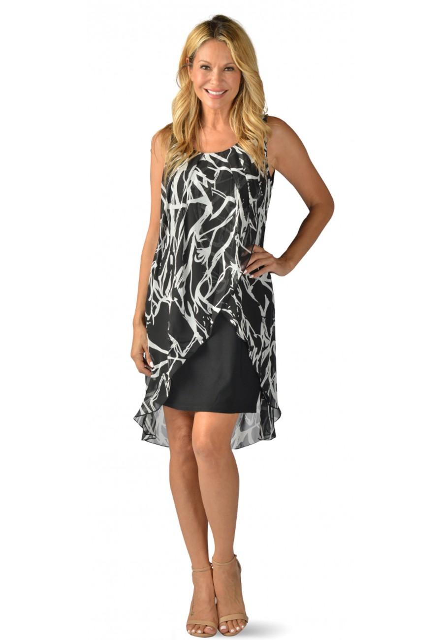 robe noir avec voilage imprim collection creation. Black Bedroom Furniture Sets. Home Design Ideas