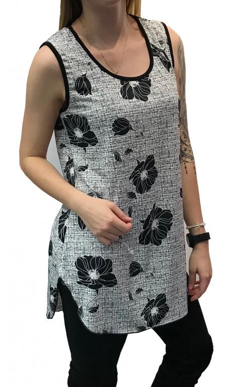 Camisole Noir et Blanc Fleuris Modes Gitane