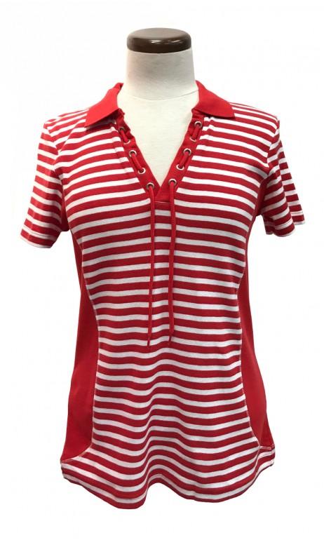 Polo rayé Rouge et Blanc Cotton N.A.T