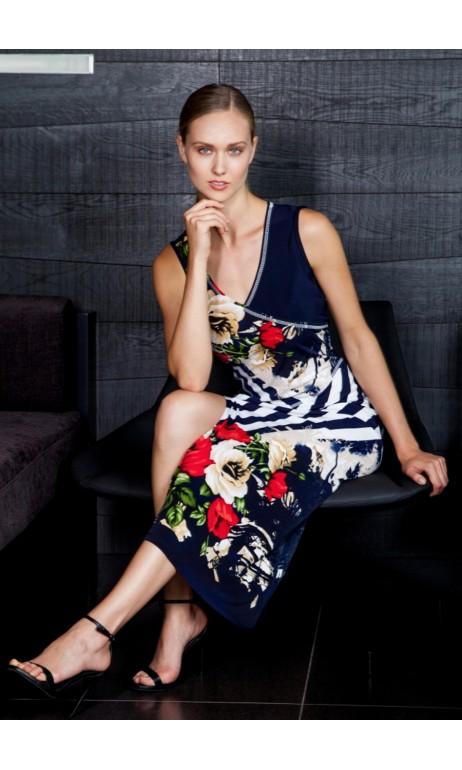Robe longue fleurs et rayure Artex Fashions