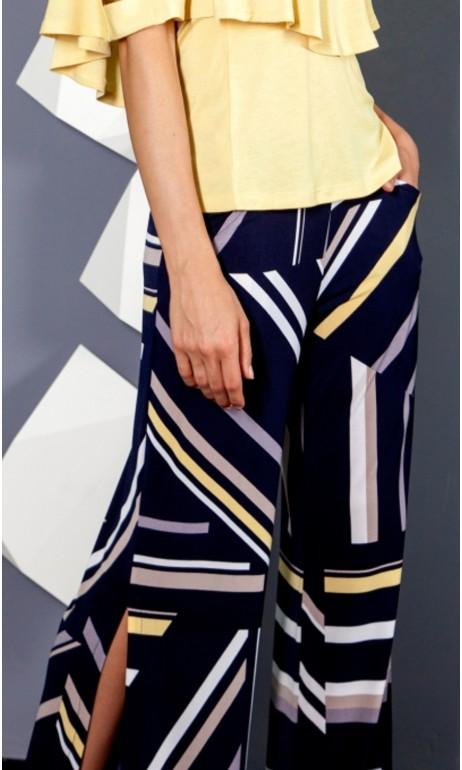 Pantalon aux imprimés marine et jaune Artex Fashions