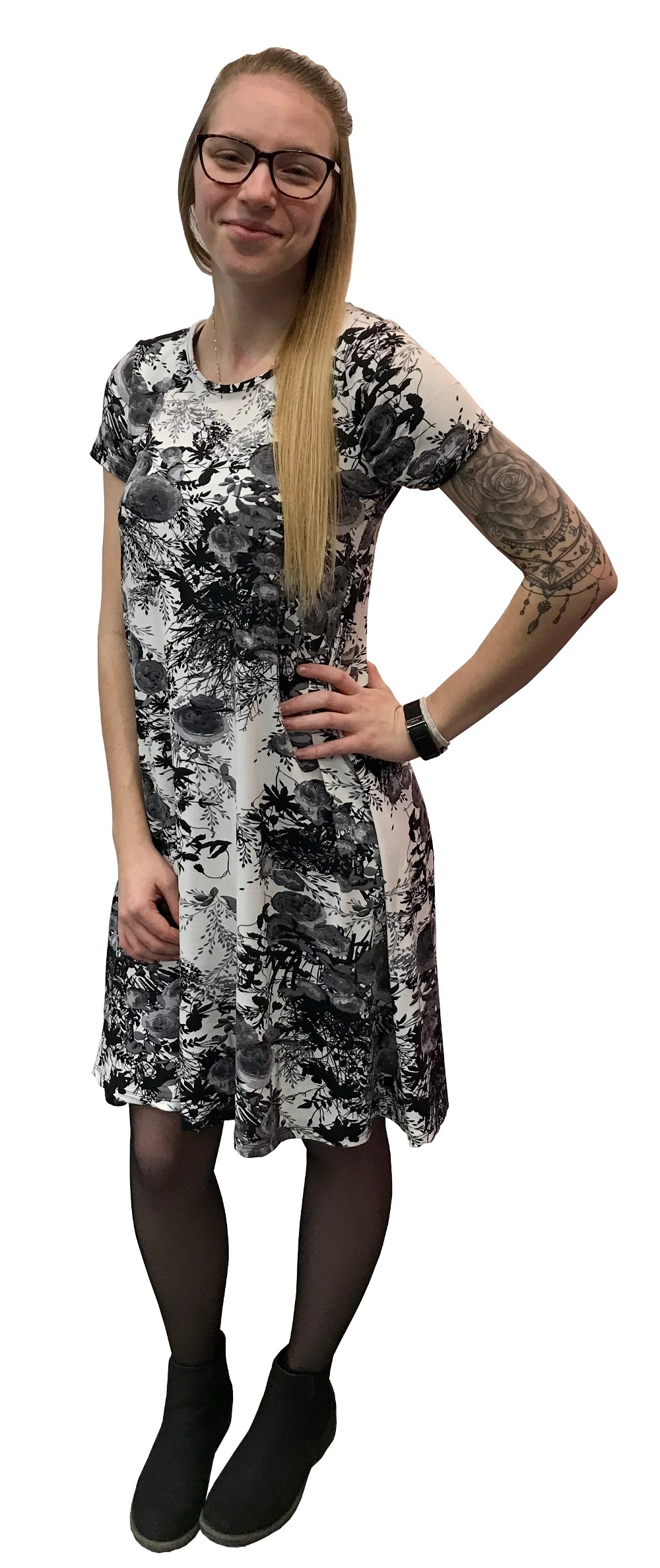 Grey And White Flower Dress Of Marvella Collection Boutique Isla
