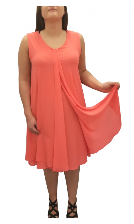 Robe chiffon unie corail Today's Designer Fashions