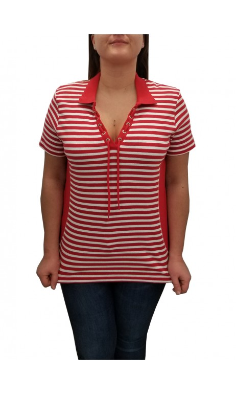 Polo rayé Rouge et Blanc Cotton N.A.T
