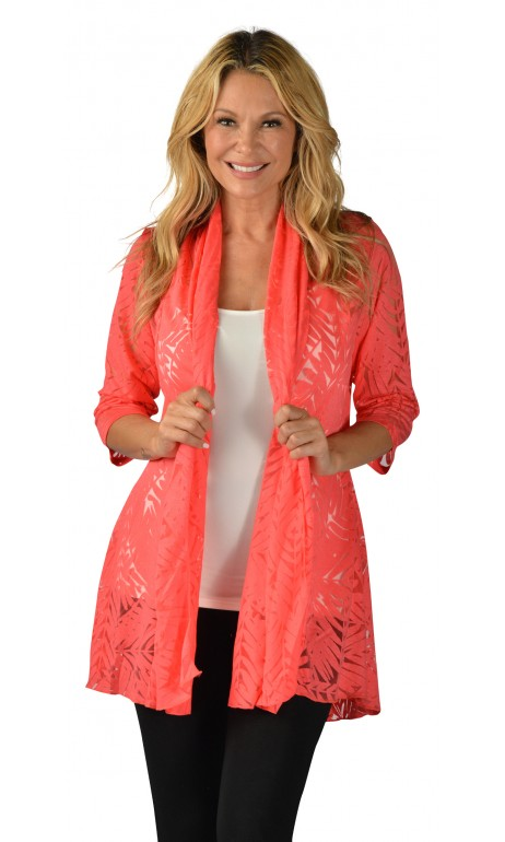 Cardigan imprimé tropical Corail Creation