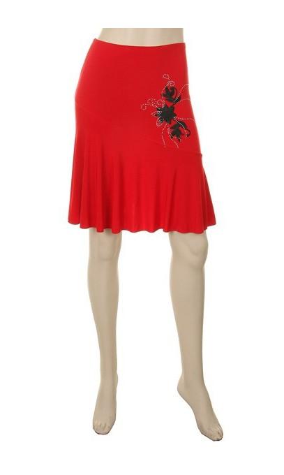 Jupe Rouge avec fleur brodé noir