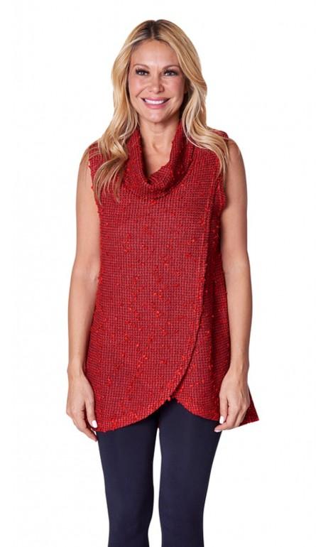 Tunique tricoté portefeuille à col bénitier Rouge