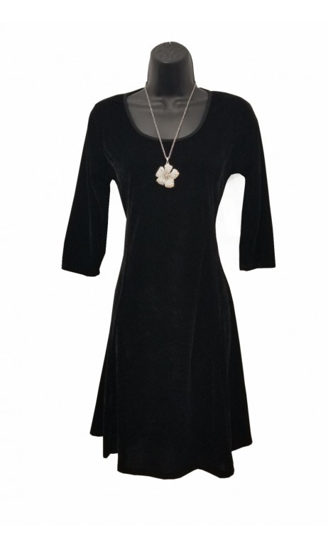 Robe paris manche 3/4 velours noir Modes Gitane