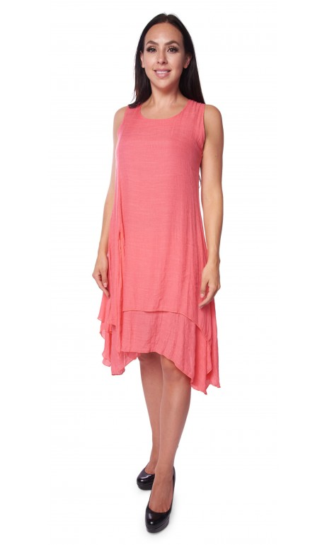 Hyper light fabric dress Coral color